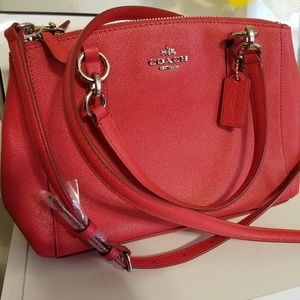 COACH Crossgrain Christie Carryall (Red) NEW